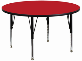 Flash Furniture 42'' Round Activity Table with 1.25'' Thick High Pressure Red Laminate Top and Height Adjustable Preschool Legs