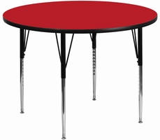 Flash Furniture 42'' Round Activity Table with 1.25'' Thick High Pressure Red Laminate Top and Standard Height Adjustable Legs