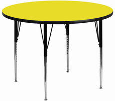 Flash Furniture 42'' Round Activity Table with 1.25'' Thick High Pressure Yellow Laminate Top and Standard Height Adjustable Legs