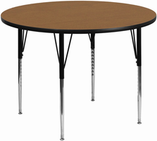 Flash Furniture 42'' Round Activity Table with Oak Thermal Fused Laminate Top and Standard Height Adjustable Legs