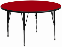 Flash Furniture 42'' Round Activity Table with Red Thermal Fused Laminate Top and Height Adjustable Preschool Legs