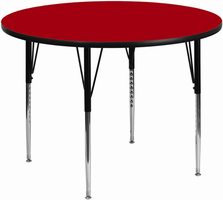 Flash Furniture 42'' Round Activity Table with Red Thermal Fused Laminate Top and Standard Height Adjustable Legs