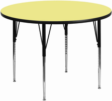 Flash Furniture 42'' Round Activity Table with Yellow Thermal Fused Laminate Top and Standard Height Adjustable Legs