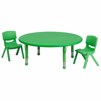 Flash Furniture 45'' Round Adjustable Green Plastic Activity Table Set with 2 School Stack Chairs