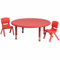 Flash Furniture 45'' Round Adjustable Red Plastic Activity Table Set with 2 School Stack Chairs