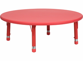 Flash Furniture 45'' Round Height Adjustable Red Plastic Activity Table