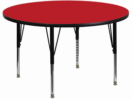 Flash Furniture 48'' Round Activity Table with 1.25'' Thick High Pressure Red Laminate Top and Height Adjustable Preschool Legs