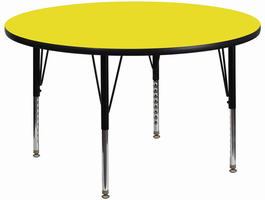 Flash Furniture 48'' Round Activity Table with 1.25'' Thick High Pressure Yellow Laminate Top and Height Adjustable Preschool Legs