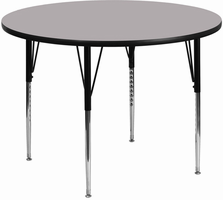 Flash Furniture 48'' Round Activity Table with Grey Thermal Fused Laminate Top and Standard Height Adjustable Legs