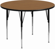 Flash Furniture 48'' Round Activity Table with Oak Thermal Fused Laminate Top and Standard Height Adjustable Legs