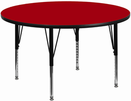 Flash Furniture 48'' Round Activity Table with Red Thermal Fused Laminate Top and Height Adjustable Preschool Legs