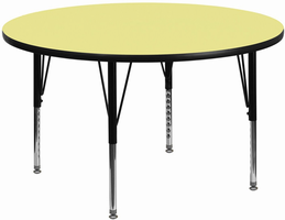 Flash Furniture 48'' Round Activity Table with Yellow Thermal Fused Laminate Top and Height Adjustable Preschool Legs