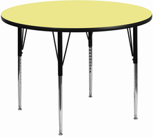 Flash Furniture 48'' Round Activity Table with Yellow Thermal Fused Laminate Top and Standard Height Adjustable Legs