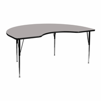 Flash Furniture 48''W x 72''L Kidney Shaped Activity Table with 1.25'' Thick High Pressure Grey Laminate Top and Standard Height Adjustable Legs