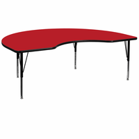Flash Furniture 48''W x 72''L Kidney Shaped Activity Table with 1.25'' Thick High Pressure Red Laminate Top and Height Adjustable Preschool Legs