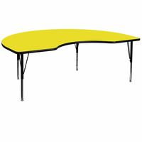 Flash Furniture 48''W x 72''L Kidney Shaped Activity Table with 1.25'' Thick High Pressure Yellow Laminate Top and Height Adjustable Preschool Legs