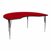 Flash Furniture 48''W x 72''L Kidney Shaped Activity Table with Red Thermal Fused Laminate Top and Standard Height Adjustable Legs
