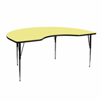 Flash Furniture 48''W x 72''L Kidney Shaped Activity Table with Yellow Thermal Fused Laminate Top and Standard Height Adjustable Legs