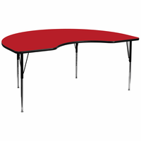 Flash Furniture 48''W x 96''L Kidney Shaped Activity Table with 1.25'' Thick High Pressure Red Laminate Top and Standard Height Adjustable Legs