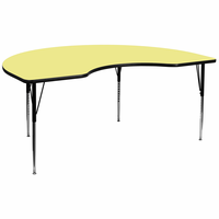 Flash Furniture 48''W x 96''L Kidney Shaped Activity Table with Yellow Thermal Fused Laminate Top and Standard Height Adjustable Legs