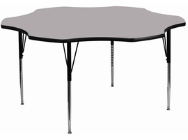 Flash Furniture 60'' Flower Shaped Activity Table with Grey Thermal Fused Laminate Top and Standard Height Adjustable Legs