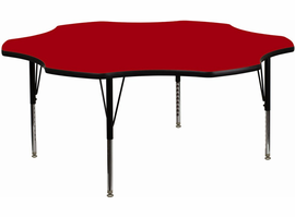 Flash Furniture 60'' Flower Shaped Activity Table with Red Thermal Fused Laminate Top and Height Adjustable Preschool Legs