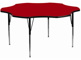 Flash Furniture 60'' Flower Shaped Activity Table with Red Thermal Fused Laminate Top and Standard Height Adjustable Legs