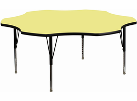 Flash Furniture 60'' Flower Shaped Activity Table with Yellow Thermal Fused Laminate Top and Height Adjustable Preschool Legs