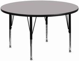 Flash Furniture 60'' Round Activity Table with Grey Thermal Fused Laminate Top and Height Adjustable Preschool Legs