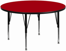 Flash Furniture 60'' Round Activity Table with Red Thermal Fused Laminate Top and Height Adjustable Preschool Legs