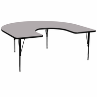 Flash Furniture 60''W x 66''L Horseshoe Shaped Activity Table with Grey Thermal Fused Laminate Top and Height Adjustable Preschool Legs