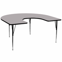 Flash Furniture 60''W x 66''L Horseshoe Shaped Activity Table with Grey Thermal Fused Laminate Top and Standard Height Adjustable Legs