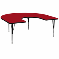 Flash Furniture 60''W x 66''L Horseshoe Shaped Activity Table with Red Thermal Fused Laminate Top and Height Adjustable Preschool Legs