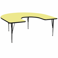 Flash Furniture 60''W x 66''L Horseshoe Shaped Activity Table with Yellow Thermal Fused Laminate Top and Height Adjustable Preschool Legs