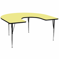 Flash Furniture 60''W x 66''L Horseshoe Shaped Activity Table with Yellow Thermal Fused Laminate Top and Standard Height Adjustable Legs