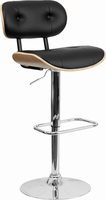 Flash Furniture Beech Bentwood Adjustable Height Barstool with Button Tufted Black Vinyl Upholstery
