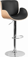 Flash Furniture Beech Bentwood Adjustable Height Barstool with Curved Black Vinyl Seat