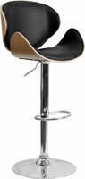 Flash Furniture Beech Bentwood Adjustable Height Barstool with Curved Black Vinyl Seat and Back