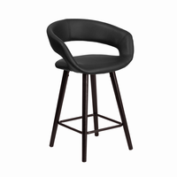 Flash Furniture Brynn Series 24'' High Contemporary Black Vinyl Counter Height Stool with Cappuccino Wood Frame