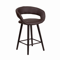 Flash Furniture Brynn Series 24'' High Contemporary Brown Vinyl Counter Height Stool with Cappuccino Wood Frame