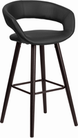 Flash Furniture Brynn Series 29'' High Contemporary Black Vinyl Barstool with Cappuccino Wood Frame