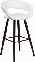 Flash Furniture Brynn Series 29'' High Contemporary White Vinyl Barstool with Cappuccino Wood Frame