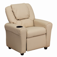 Flash Furniture Contemporary Beige Vinyl Kids Recliner with Cup Holder and Headrest