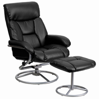 Flash Furniture Contemporary Black Leather Recliner and Ottoman with Metal Base