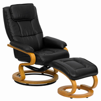 Flash Furniture Contemporary Black Leather Recliner and Ottoman with Swiveling Maple Wood Base