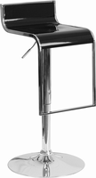 Flash Furniture Contemporary Black Plastic Adjustable Height Barstool with Chrome Drop Frame