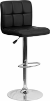 Flash Furniture Contemporary Black Quilted Vinyl Adjustable Height Barstool with Chrome Base