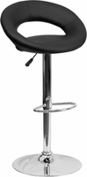 Flash Furniture Contemporary Black Vinyl Rounded Back Adjustable Height Barstool with Chrome Base