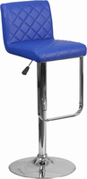 Flash Furniture Contemporary Blue Vinyl Adjustable Height Barstool with Chrome Base