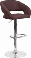 Flash Furniture Contemporary Brown Fabric Adjustable Height Barstool with Chrome Base